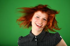 Portrait of girl with red flying hair Royalty Free Stock Photos