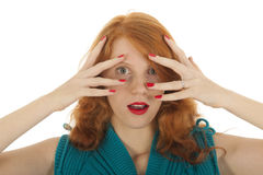 Portrait girl with red hair hiding Stock Photography