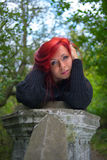 Portrait of a girl with red hair. Looking straight Royalty Free Stock Image