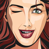 Portrait girl red haired wink lipstick. Vector illustration eps 10 Royalty Free Stock Photography