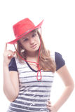Portrait of a girl in a red hat Stock Photography