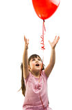portrait of a girl with red heart balloon Royalty Free Stock Images