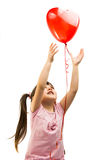 portrait of a girl with red heart balloon Royalty Free Stock Photo