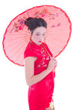 Portrait of girl in red japanese dress with umbrella isolated on Royalty Free Stock Image