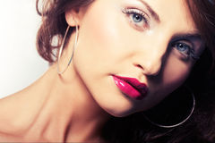 Portrait of girl with red lipstic Royalty Free Stock Image