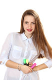 Portrait of a girl with red marker in hand. Stock Photo