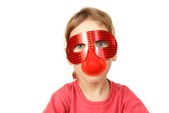 Portrait of girl in red mask on white background Royalty Free Stock Photo