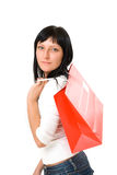 Portrait of a girl with a red packet Stock Images