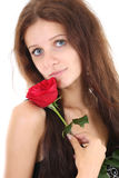 Portrait of girl with red rose Royalty Free Stock Photography