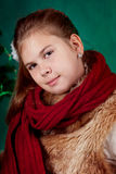 Portrait of  girl with red scarf Royalty Free Stock Images