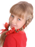 Portrait of  girl in red sport shirt. Portrait of smiling girl in red sport shirt Royalty Free Stock Images