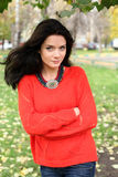 Portrait of a girl in a red sweater Royalty Free Stock Images