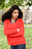 Portrait of a girl in a red sweater Royalty Free Stock Photography