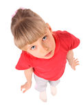 Portrait of girl in red t-shirt. Stock Photos