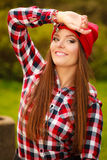 Portrait girl relaxing walking in autumnal park. Royalty Free Stock Photo