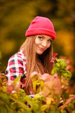 Portrait girl relaxing walking in autumnal park. Royalty Free Stock Photography