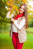 Portrait girl relaxing walking in autumnal park. Royalty Free Stock Photos
