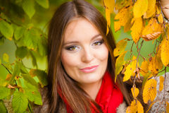 Portrait girl relaxing walking in autumnal park. Stock Images