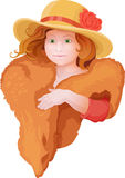 Portrait of girl in retro style dressing with hat. And fur in warm colors Royalty Free Stock Photography