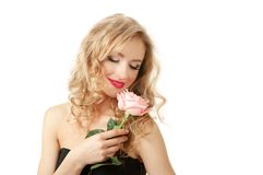 Portrait of a girl with rose Royalty Free Stock Photos