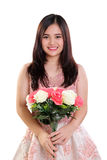 Portrait of girl with roses isolated stock image