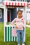 Portrait Of Girl Running Homemade Lemonade Stand Stock Images