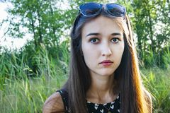 Portrait of girl`s emotions in the forest royalty free stock image