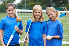 Portrait Of Girl's Hockey Team Stock Image