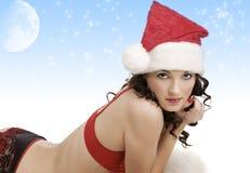 Portrait of girl santa claus Stock Photography