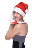 portrait of girl in santa claus hat Royalty Free Stock Photos