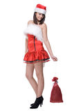 Portrait of girl in santa dress with bag Stock Photos