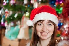 Portrait of girl in Santa hat stock images