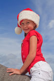 Portrait of girl in Santa's hat Royalty Free Stock Image
