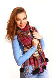 Portrait of girl with scarf isolated on white background Royalty Free Stock Photo