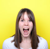 Portrait of girl screaming Stock Images