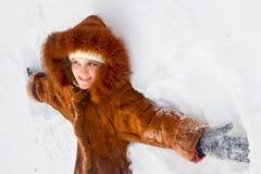 Portrait of girl in sheepskin coat Stock Photography