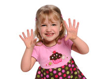 Portrait of Girl Showing Hands Stock Image
