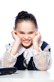 Portrait of a girl sitting at a school desk, school, classroom, Royalty Free Stock Photography