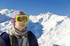 Portrait of a girl with a ski mask Stock Images