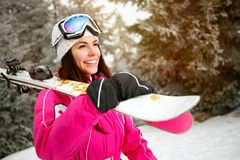 Portrait of girl skier outdoors -winter resort Royalty Free Stock Photography