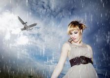 Portrait of  girl in the sky. Portrait of young beautiful girl with blue sky background and storm Stock Photos