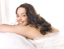 Portrait of a girl sleeping on a pillow royalty free stock photography