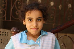 Portrait of a girl smile in street in giza, egypt. Portrait of a happy girl in the street in giza, egypt, Portrait of a child in the street in giza, Egypt, Happy Royalty Free Stock Photography