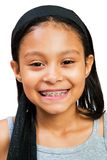 Portrait Of A Girl Smiling. Isolated over white Royalty Free Stock Image