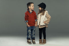 A portrait of a girl and a smiling boy Stock Images