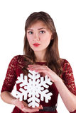 Portrait of a girl with snowflake Stock Photography