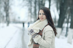 Portrait of a girl in snowy park Royalty Free Stock Photography