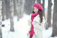 Portrait of a girl in snowy park Royalty Free Stock Images