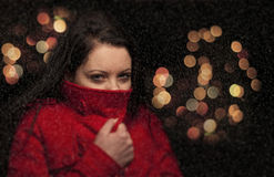Portrait of a girl in snowy weather Stock Photography
