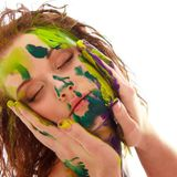 Portrait of girl soiled in paint Royalty Free Stock Image